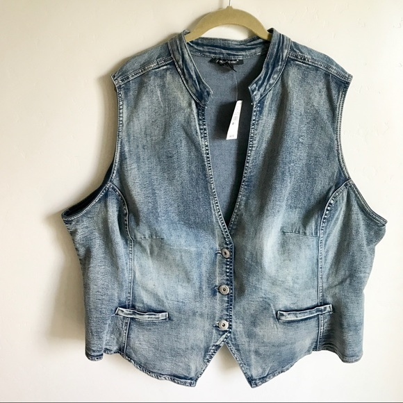 Ashley Stewart Jackets & Blazers - Ashley Stewart Blue Denim Vest Size 26 NWTS